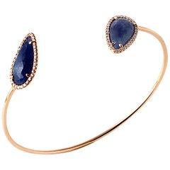 Sliced 8.7 Carat Blue Sapphire 0.36 Carat Diamonds 14 Karat Gold Bangle Bracelet