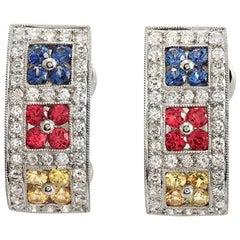 18k Gold 0.93 Ct Diamonds & 1.38 Ct Multi Sapphire Omega Back Earrings