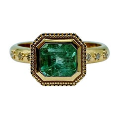Luca Jouel Pastel Emerald and Champagne Diamond Ring in 18 Carat Gold