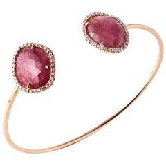 Rose Cut 9.98 Ct Pink Sapphire 0.39 Ct Diamonds 14k Rose Gold Bangle Bracelet