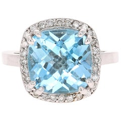 Blue Topaz Diamond 14 Karat White Gold Ring