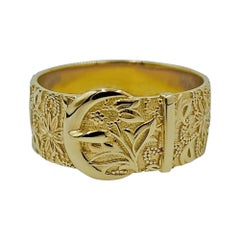 Luca Jouel Ornate Floral Buckle Ring in 18ct Yellow Gold