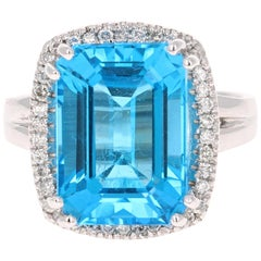 9.71 Carat Blue Topaz Diamond White Gold Cocktail Ring