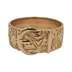 Luca Jouel Ornate Floral Buckle Ring in 18ct Rose Gold