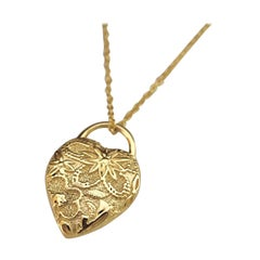 Luca Jouel Ornate Petite Heart Necklace in 18 Carat Yellow Gold