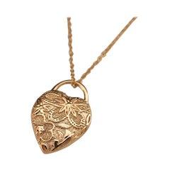 Luca Jouel Ornate Petite Heart Necklace in 18 Carat Rose Gold