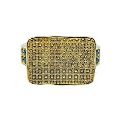 Luca Jouel Black Diamond Antique Patterned Statement Ring in 18 Carat Gold