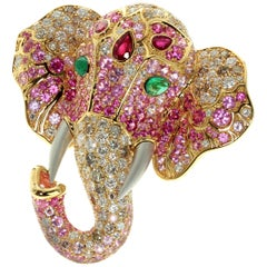 Ruby Diamond Emerald 18 Karat Yellow Gold Elephant Cocktail Ring