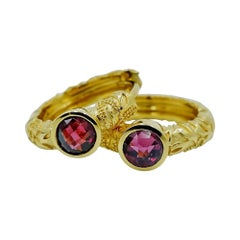 Luca Jouel Rhodolite Garnet Ornate Floral Huggie Hoop Earrings in Yellow Gold