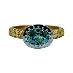 Luca Jouel Green Sapphire Platinum and 18 Carat Yellow Gold Dress Ring