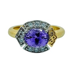 Luca Jouel Unique Purple Sapphire and Diamond Platinum and Gold Lotus Ring
