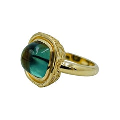 Luca Jouel Green Tourmaline Cabochon Decorative Statement Ring in Yellow Gold