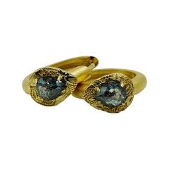Rose Cut Charcoal Diamond Ornate Floral Huggie Hoop Earrings in 18ct Yellow Gold