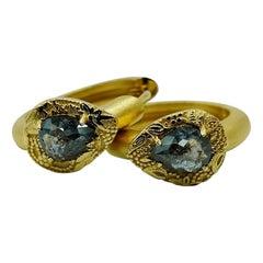 Luca Jouel Rose Cut Charcoal Diamond Ornate Floral Gold Huggie Hoop Earrings