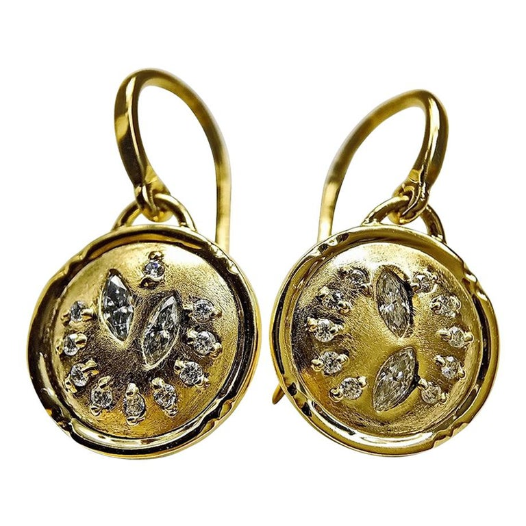Luca Jouel Mixed Diamond Circular Drop Earrings in 18 Carat Yellow Gold