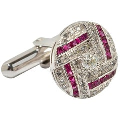 Ruby & Diamond Cufflinks, 750 White Gold