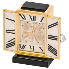1920s Art Deco Platinum Diamond Enamel Gold Shutter Clock