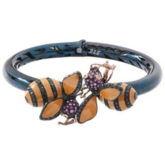 Bangle with Two Bees with Rubies, Sapphires and Tsavorites