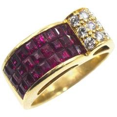 Retro Style Ruby Diamond 18 Karat Yellow Gold Ring