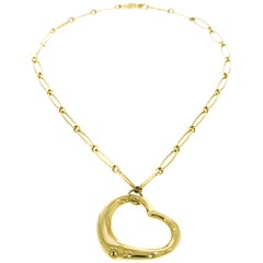 Tiffany & Co. Open Heart Yellow Gold Necklace by Elsa Peretti