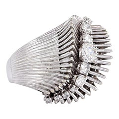French Retro White Gold and Diamond Ring of Flared and Swirl Design