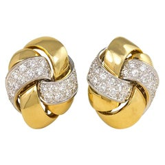 Emil Meister Two-Color Gold and Diamond Knot Design Earrings
