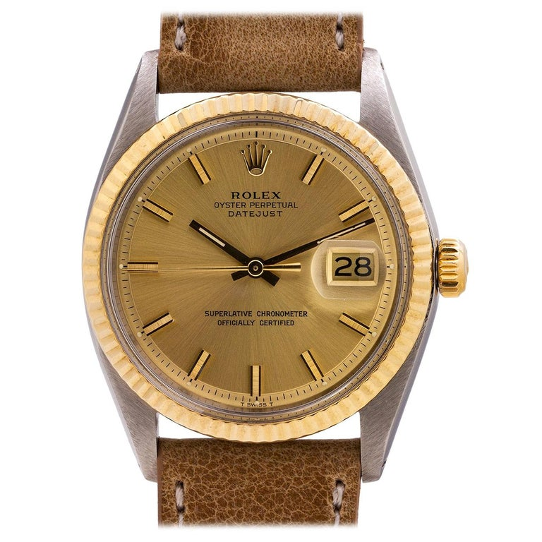 Rolex Yellow Gold Stainless Steel Datejust Self Winding Wristwatch 1601