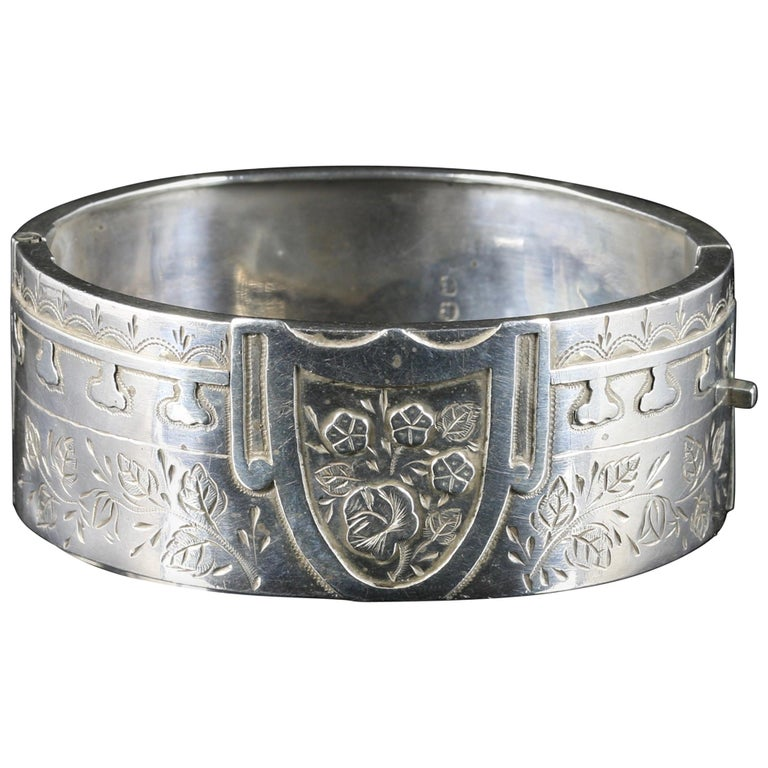 Antique Victorian Silver Bangle Forget Me Not Dated 1884