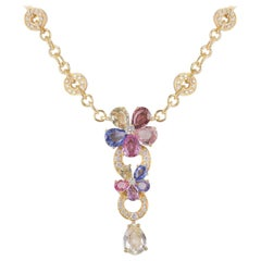 Bulgari Diamond Sapphire Flower Necklace