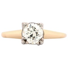 1.03 Carat Round Old European Diamond Vintage Engagement Ring