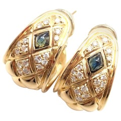 Chaumet Paris Quilted Diamond Sapphire Yellow Gold Hoop Earrings