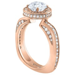 Alex Soldier Modern Sensuality Diamond Halo Rose Gold Engagement Ring