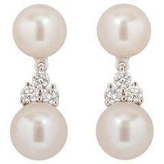 Tiffany & Co. Platinum Pearl and Diamond Aria Earrings