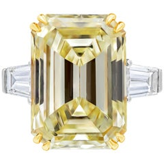 GIA Certified 14.54 Carat Yellow Emerald Cut Diamond Three-Stone Engagement Ring