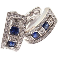 Damiani Belle Epoque Diamond and Sapphire White Gold Hoop Earring