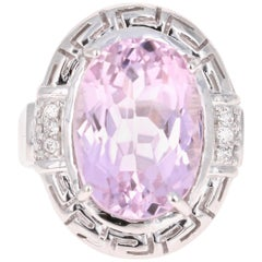 12.23 Carat Kunzite Diamond White Gold Cocktail Ring