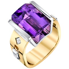 8.33 Carat Amethyst and 0.16 Carat Diamonds 18 Karat Yellow White Gold Ring