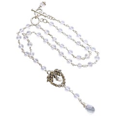 Ice Quartz Victorian Silver Paste Heart Pendant Necklace