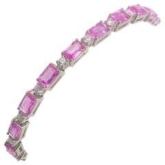 11.93 Carat Pink Sapphire and Diamond 14 Karat White Gold Tennis Bracelet