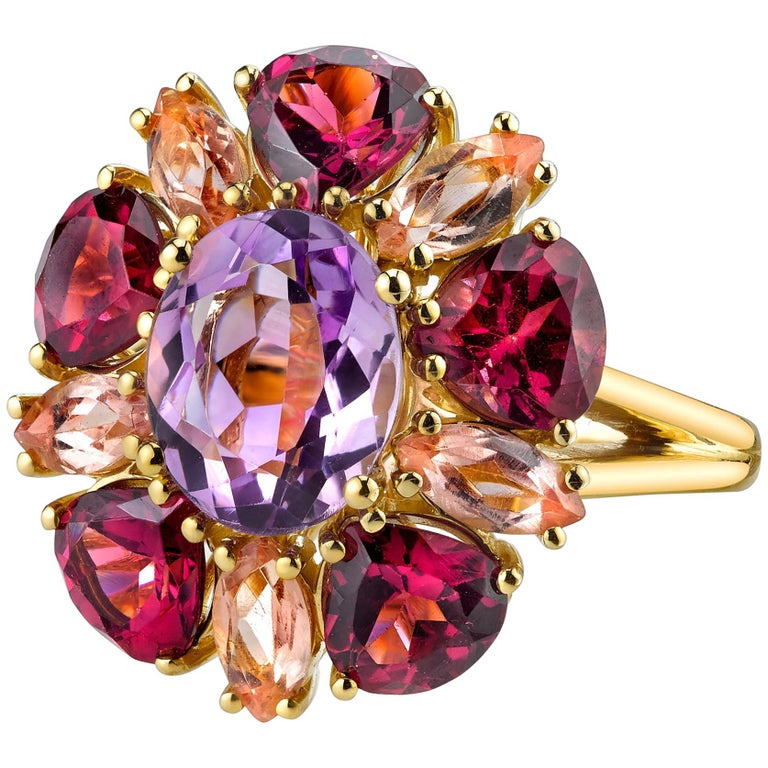 2.41 Carat Amethyst with Garnet and Topaz 18 Karat Yellow Gold Ring