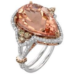 Morganite Champagne Diamond White and Rose Gold Ring