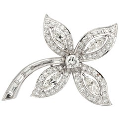 Platinum Diamond Brooch / Pin