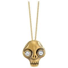 Wendy Brandes White Sapphire Eyes Memento Mori Skull Gold Pendant Necklace