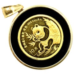 Panda Coin and Black Onyx Pendant