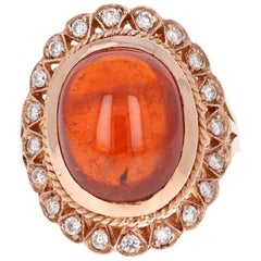 16.18 Carat Cabochon Spessartine Diamond Ring 14 Karat Rose Gold