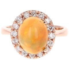 2.86 Carat Opal Diamond 14 Karat Rose Gold Ring