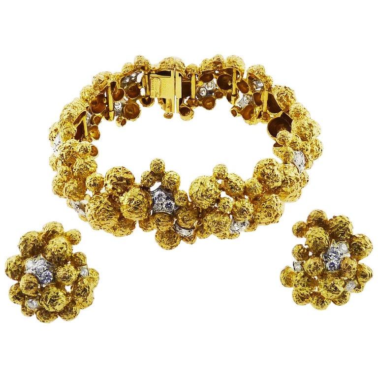 Diamond 18 Karat Yellow Gold Bracelet and Earrings Set by Cartier