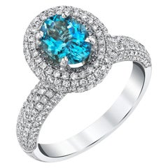 Aquamarine Oval and Diamond Halo, White Gold Pave Set Cocktail / Engagement Ring