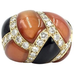 Charles Turi Carnelian, Onyx and Diamond 18 Karat Dome Ring