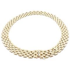 18 Karat Yellow Gold Five-Row Panther Link Necklace